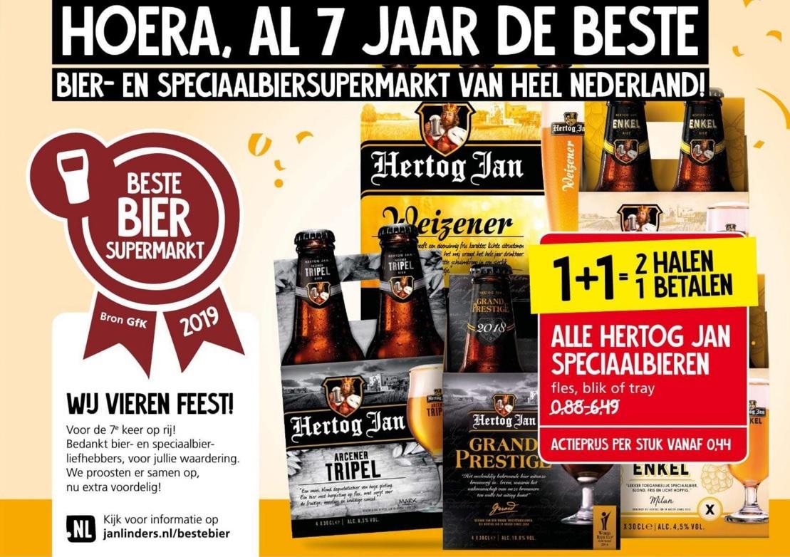 Jan Linders: Hertog Jan speciaalbieren 1+1 gratis