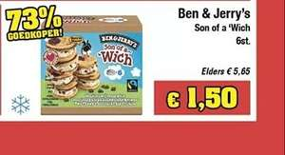 Ben & Jerry's Son of a wich (6 stuks) voor €1,50 bij Budgetfood