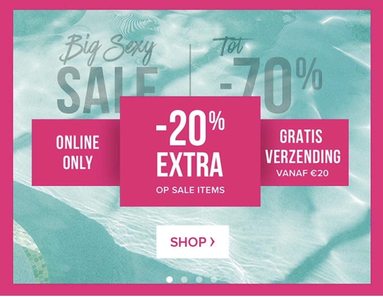 20% extra korting op sale @ hunkemoller (+gratis verzendkosten vanaf €20)
