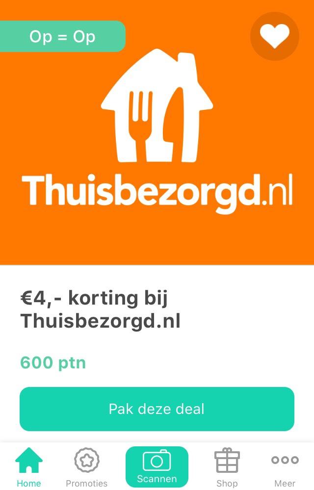 €4,- korting bij thuisbezorgd voor 600 punten @Tessa