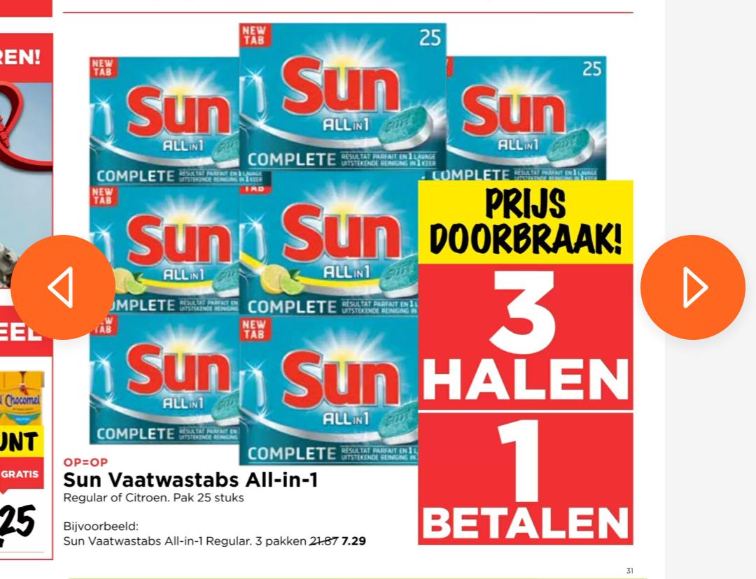 SUN 3 halen 1 betalen bij Vomar