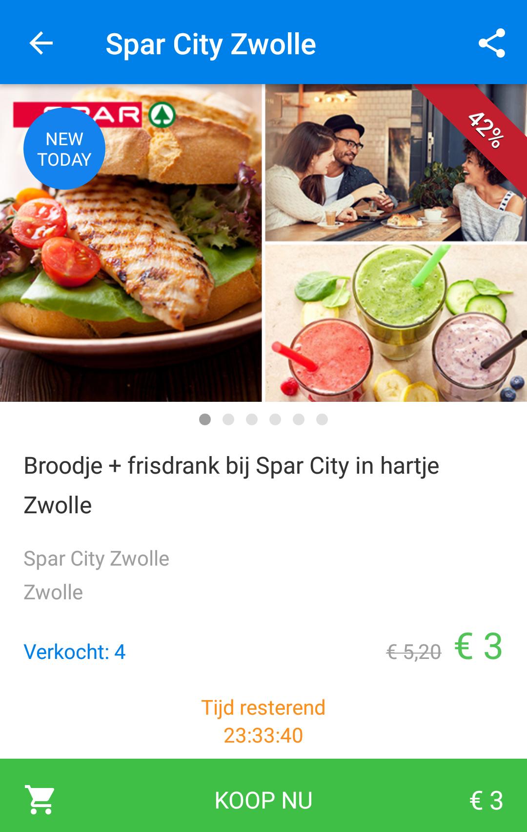 Spar City Zwolle: 3 belegde broodjes met 3 maal frisdrank voor €6,50