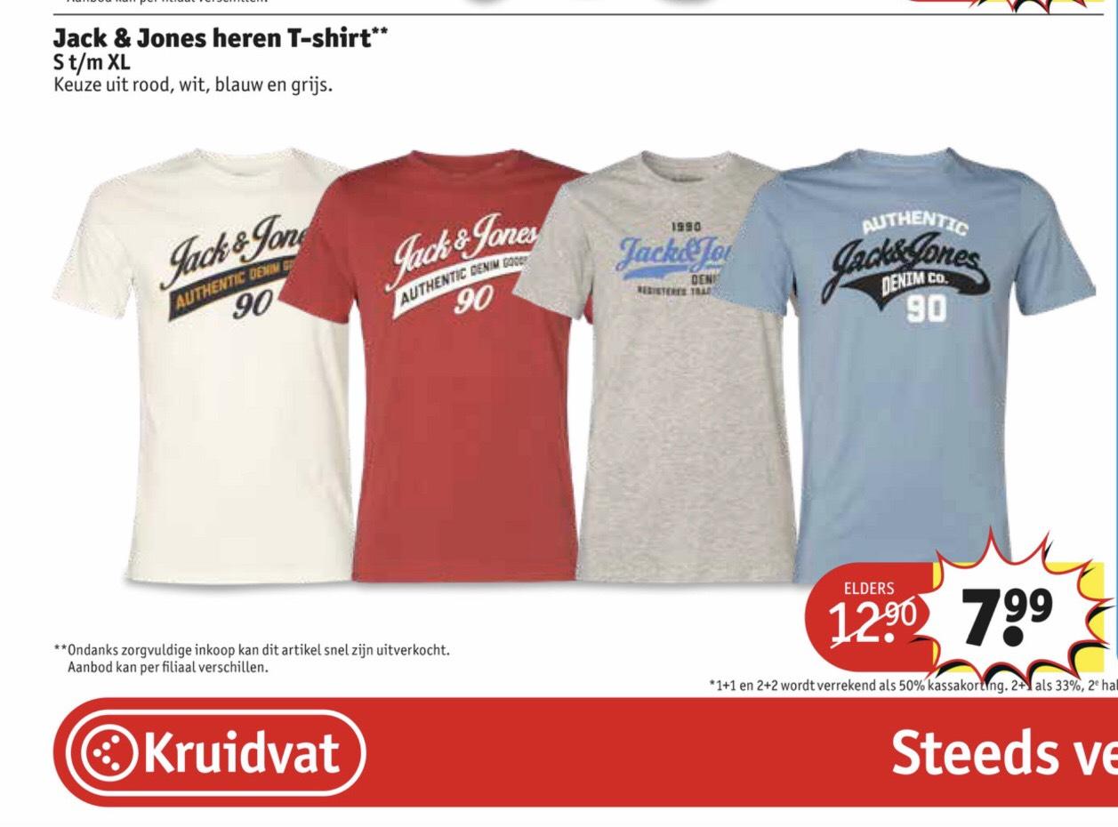 Jack&Jones heren t-shirts bij Kruidvat. Was €12,90