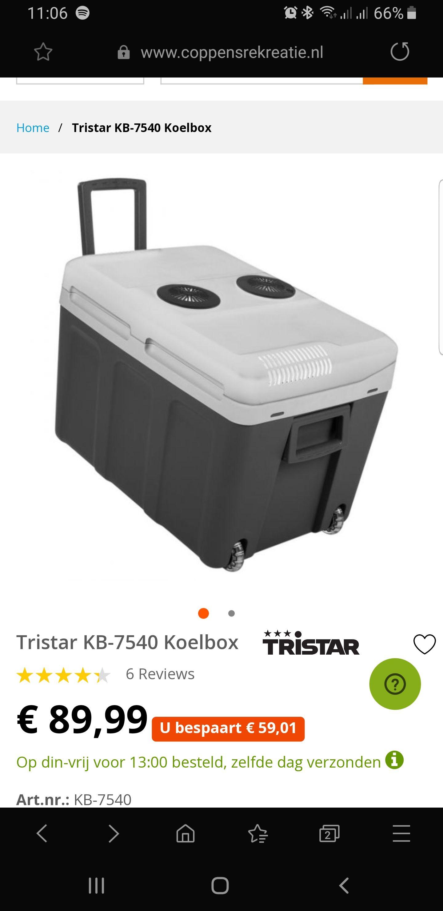 Elektrische koelbox Tristar KB-7540 Koelbox  40 Liter 12 volt & 230 volt
