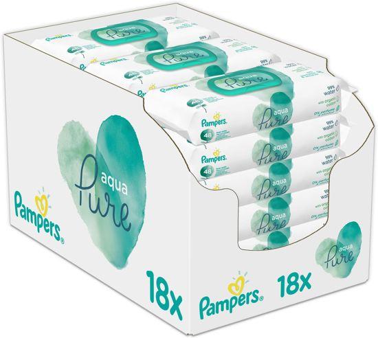 Pampers Aqua Pure Billendoekjes - 864 Stuks - Billendoekjes 50% korting