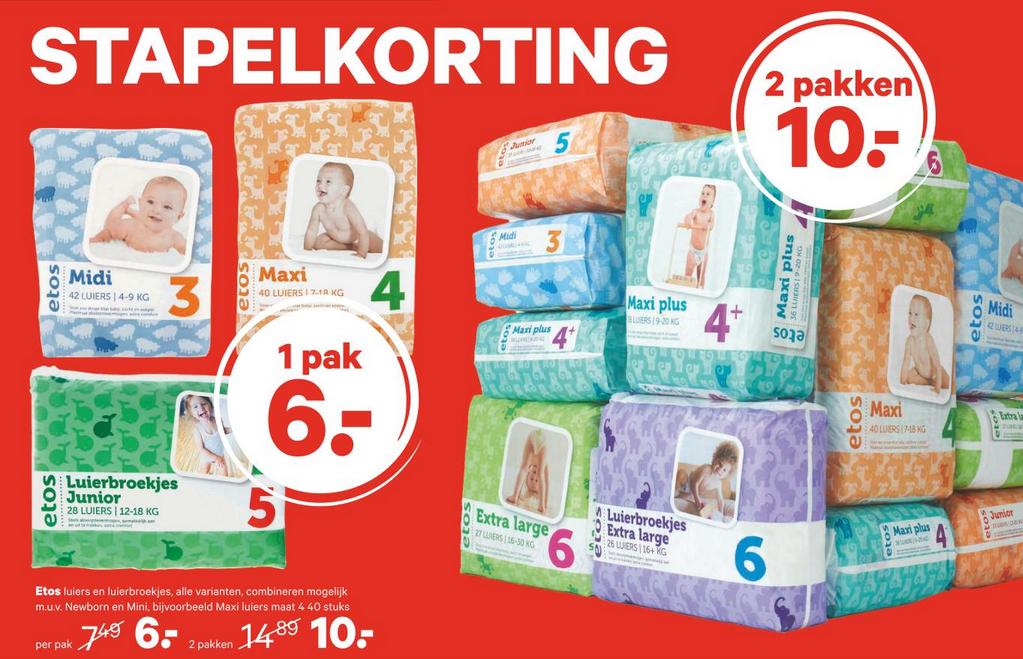 Etos luiers en luierbroekjes - 1 pak voor €6 of 2 pakken voor €10 @ Etos