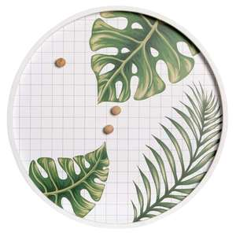 Memobord palm wit/groen - Ø50x2 cm