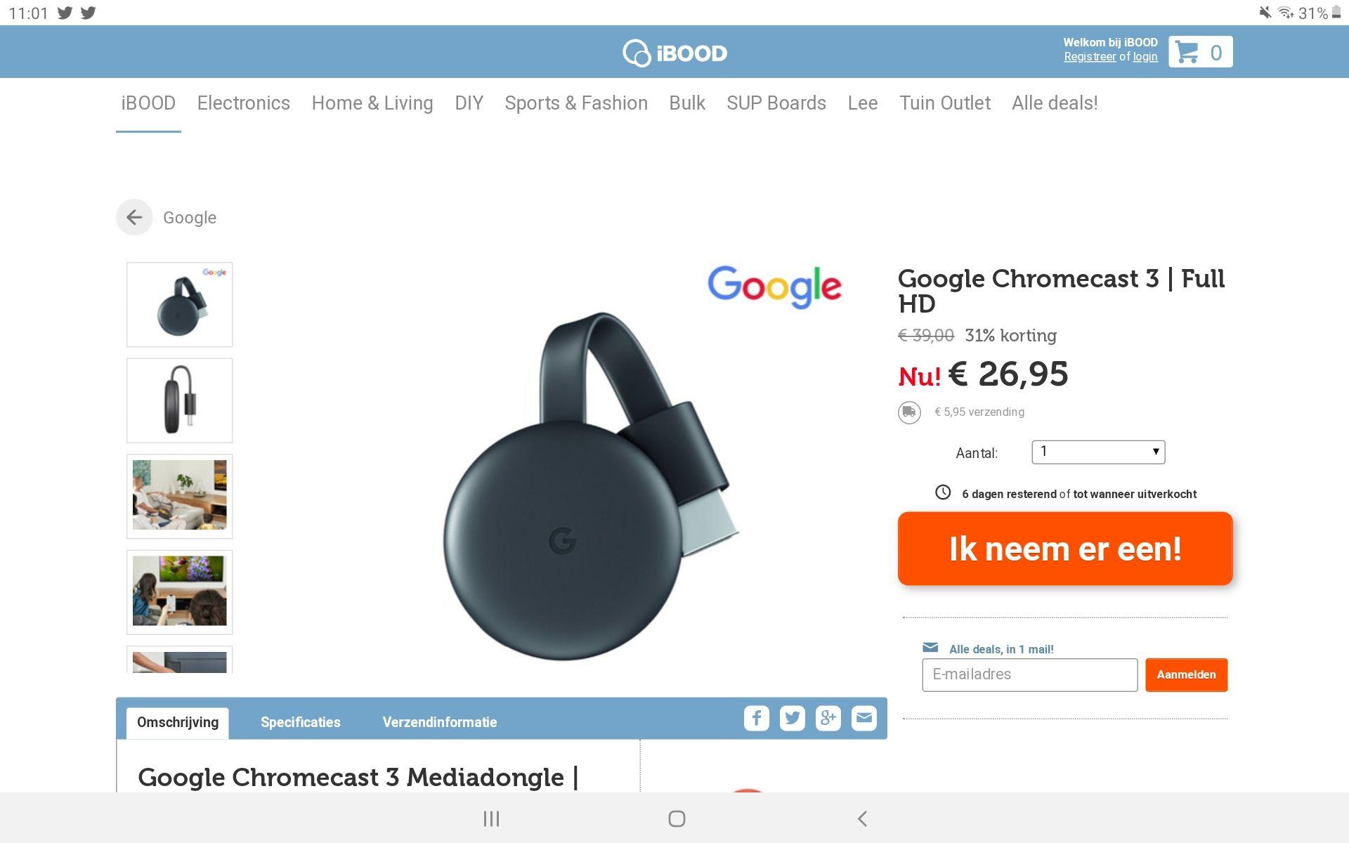 Chromecast V3 nu 32,90 inclusief verzen bij Ibood