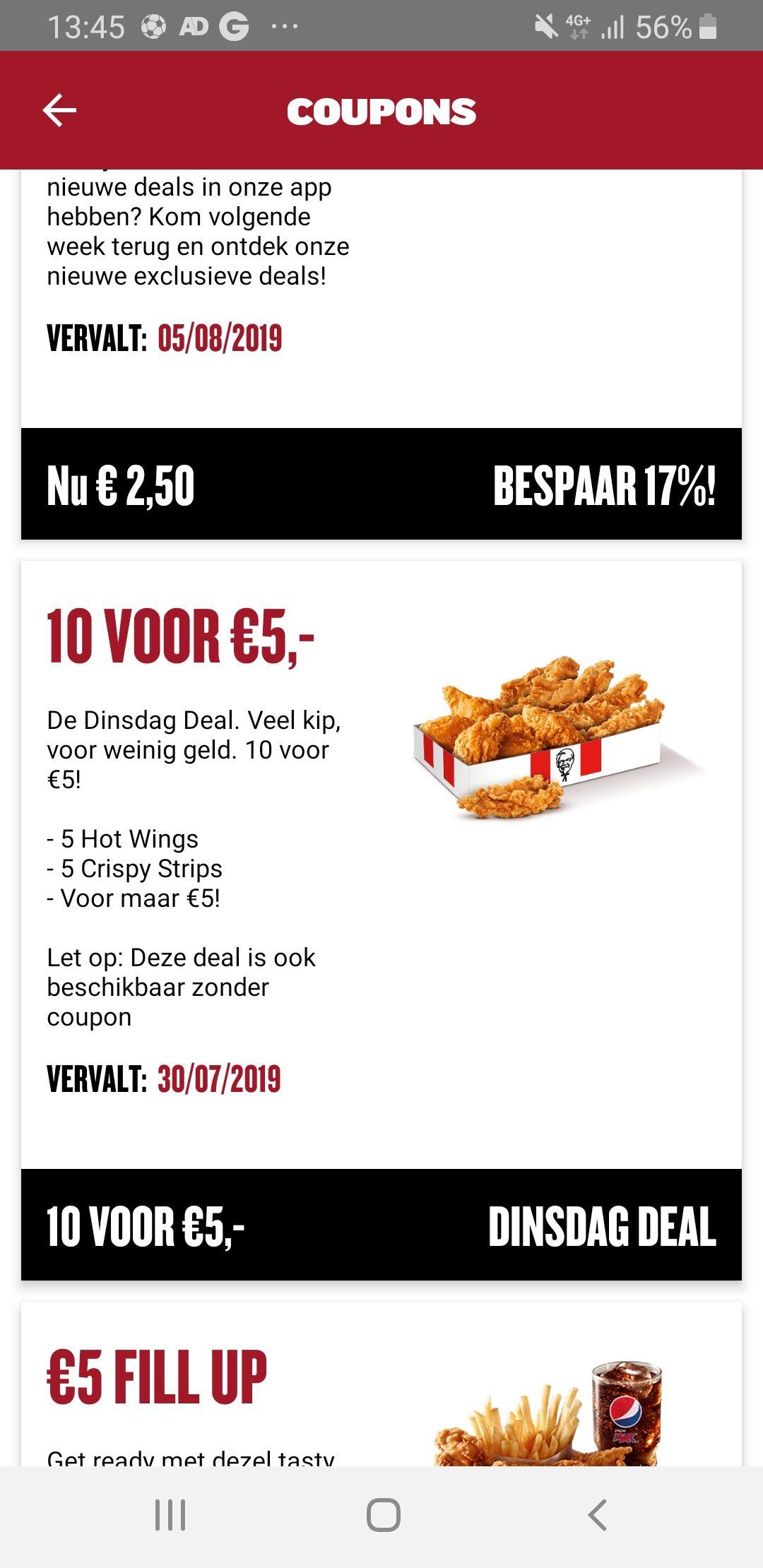 Nieuwe dinsdagdeal 5 chickenstrips en 5 hotwings voor 5€ en andere coupons