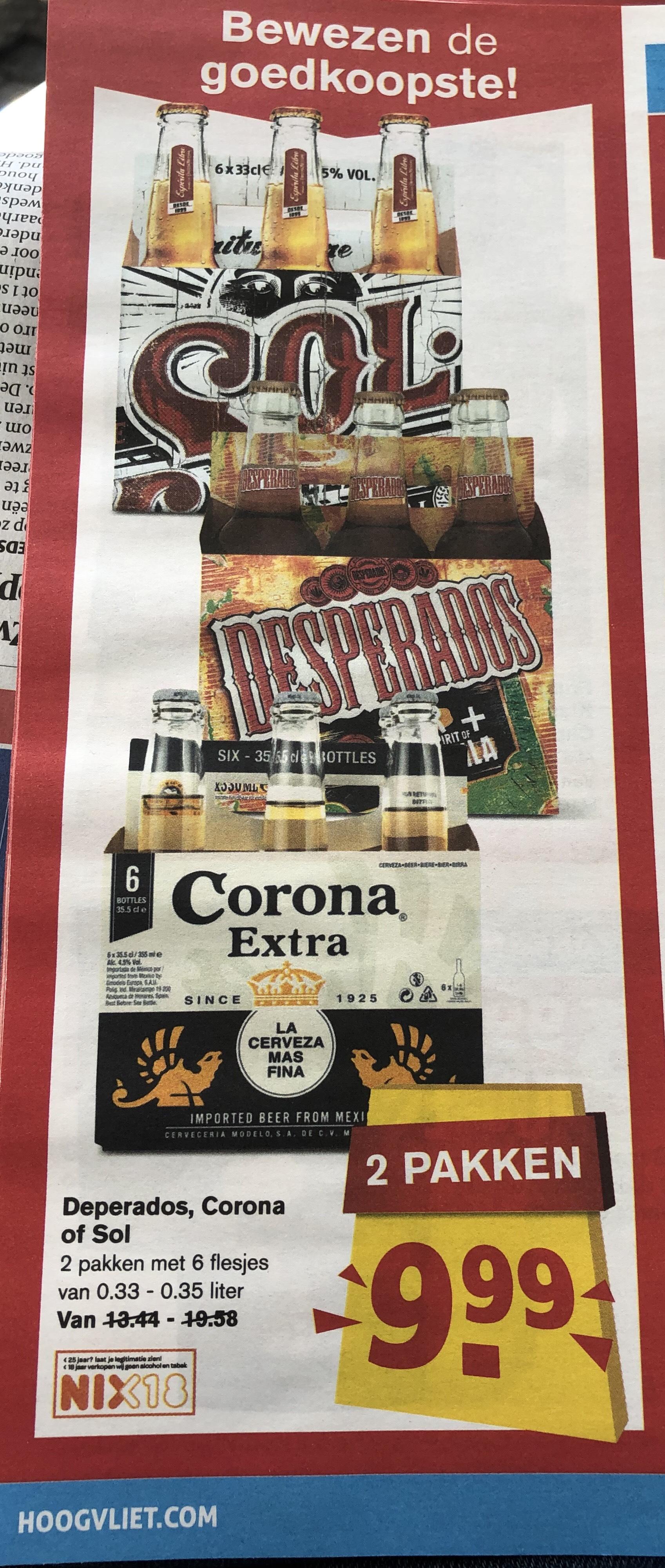 12 flesjes Corona/Desperado/Sol voor een leuke prijs!!