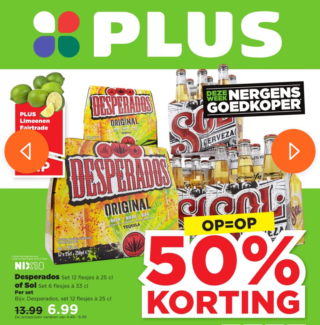 50% korting op Desperados & Sol bij Plus & 2=1 op verschillende blikken bier