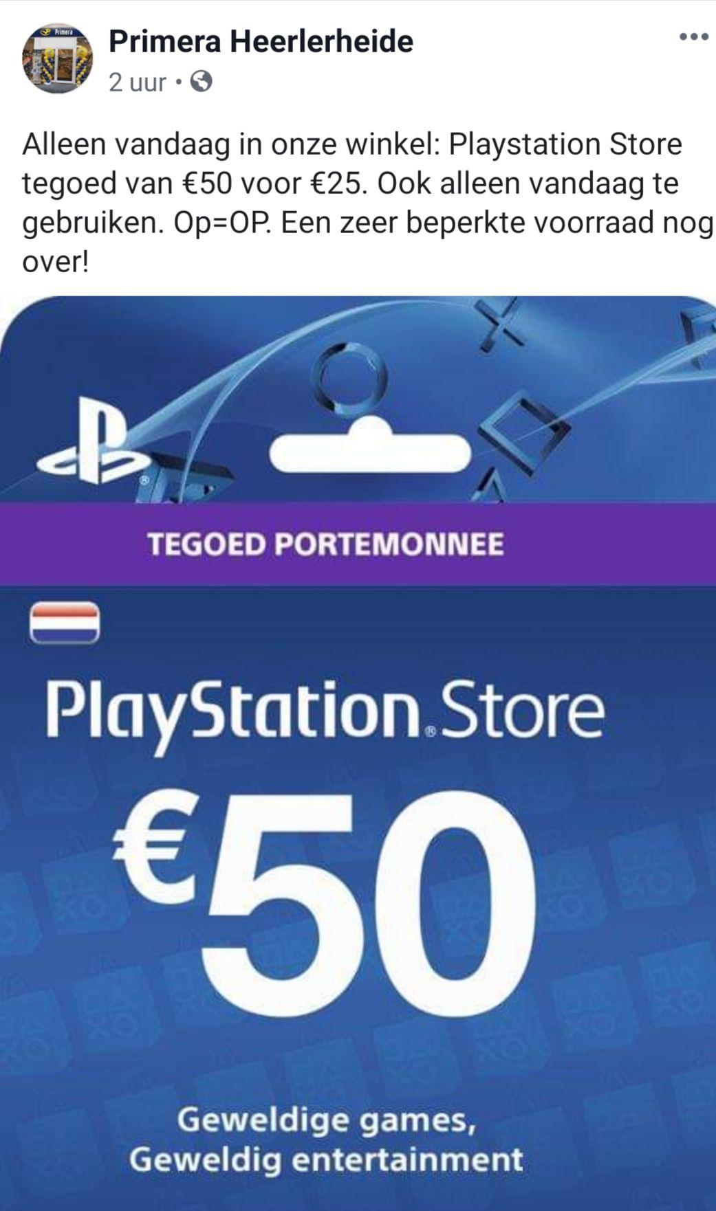 Playstation store tegoed 50 euro voor 25 euro. Primera Heerlen
