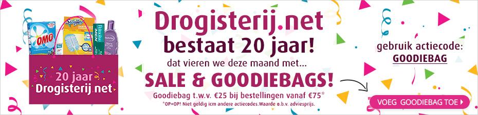 Drogisterij.net 20 jarig bestaan - veel korting, en Goodie Bag twv €25 vanaf €75 aan aankopen!