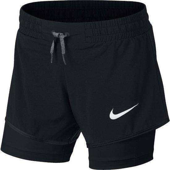 Nike Fitness Short 2In1 Sportbroek Meisjes - Zwart/Wit