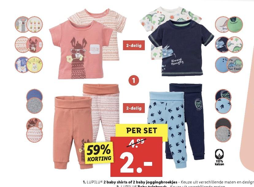 2 Babyshirts of -joggingbroekjes voor €2,- @ Lidl