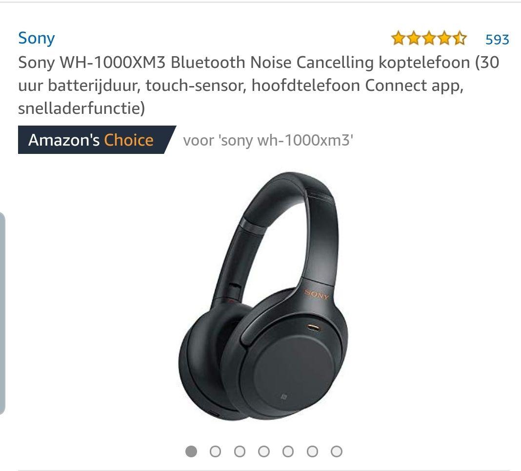Sony WH-1000XM3 zwart noise cancelling koptelefoon