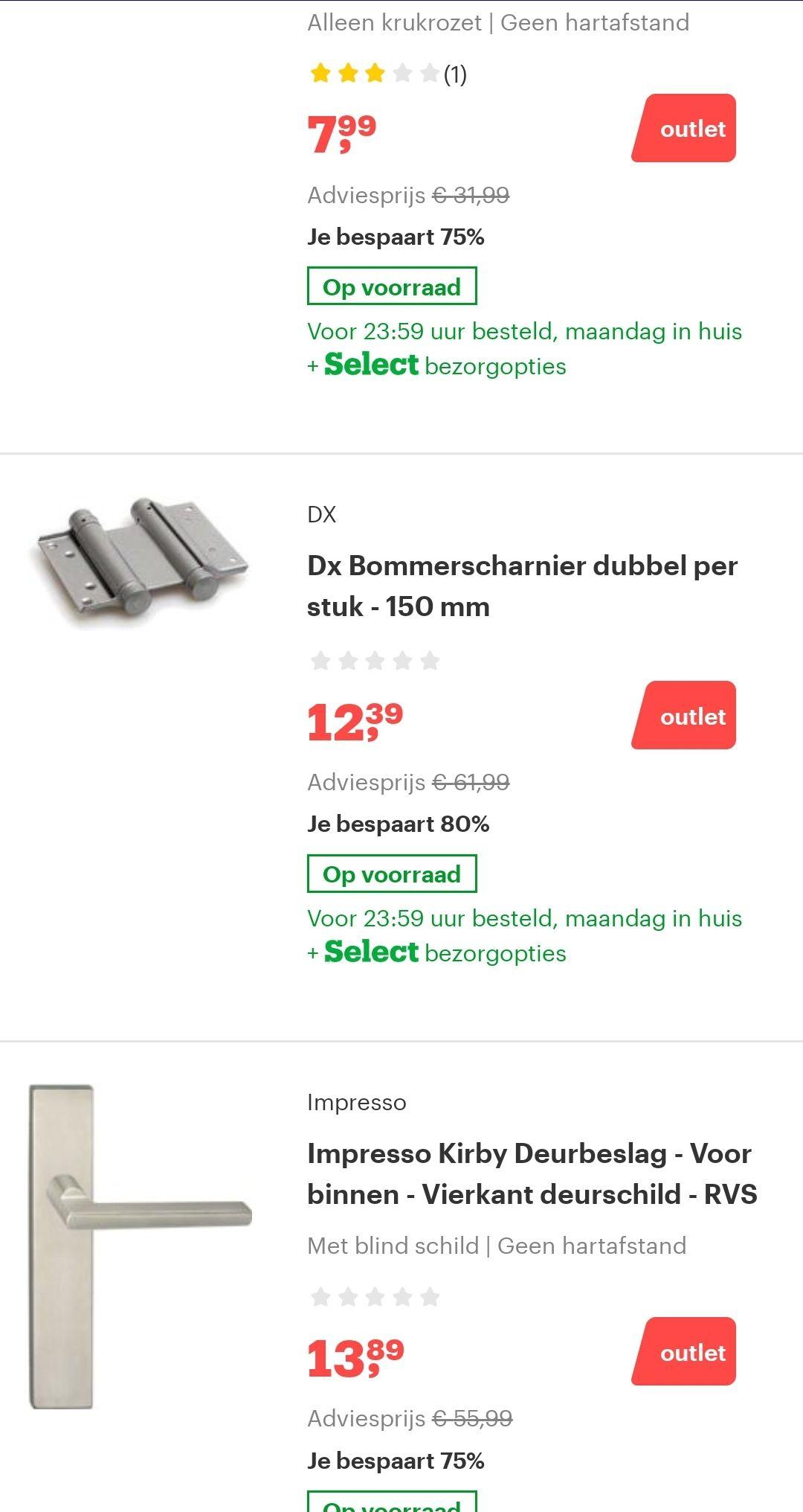 Diverse deurklinken -70% @bol.com