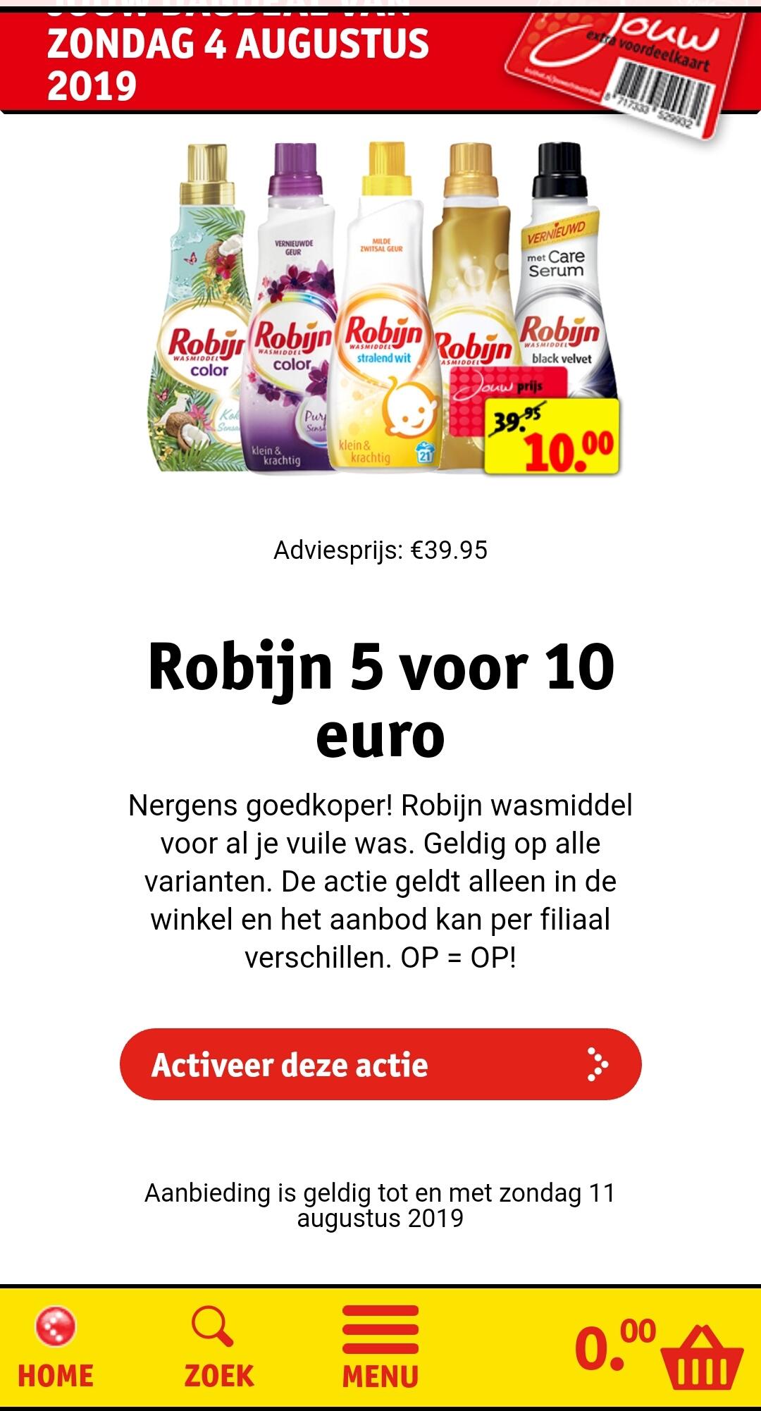 Kruidvat 5 Robijn wasmiddel voor €10 (adviesprijs €39,95)