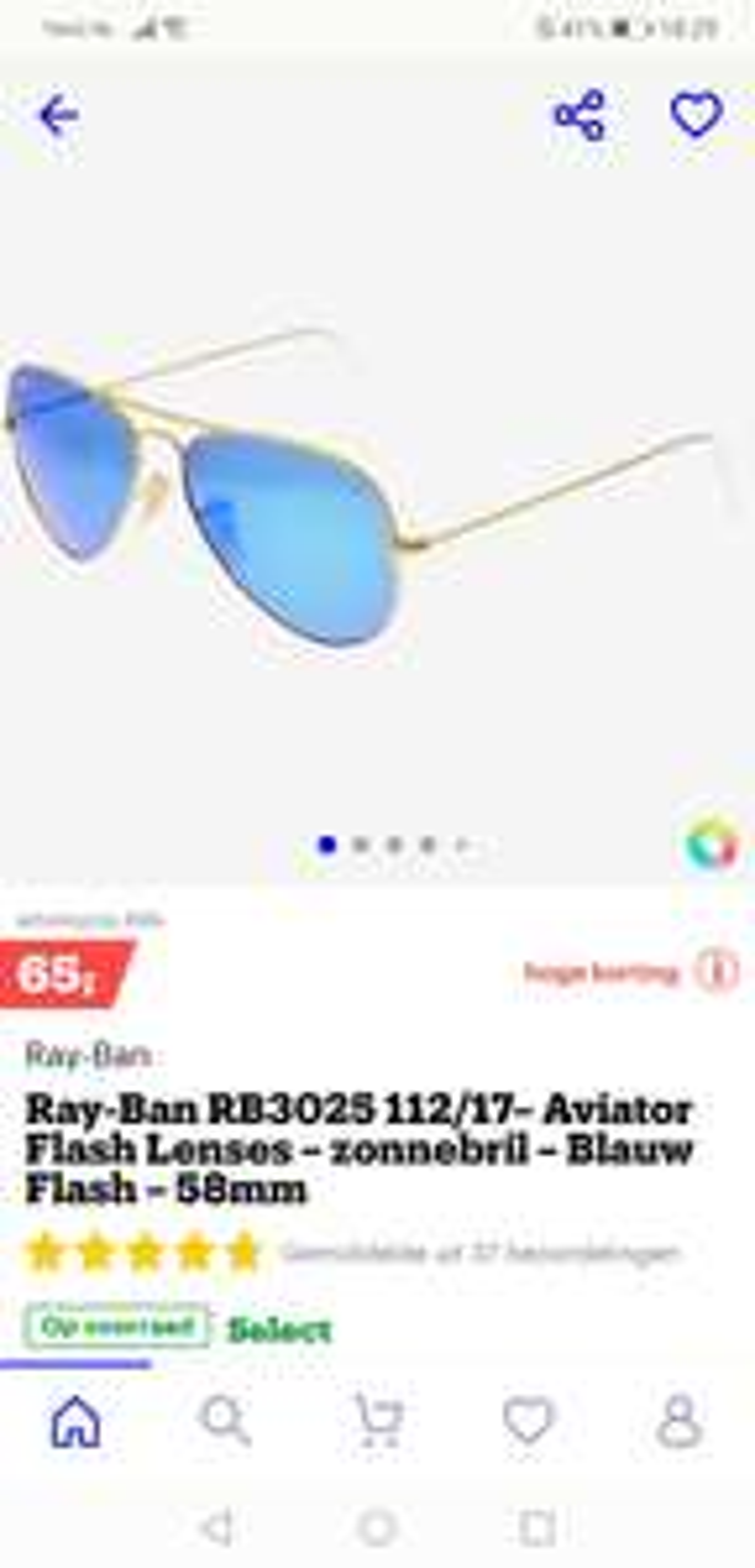 Ray-Ban RB3025 112/17 aviator zonnebril