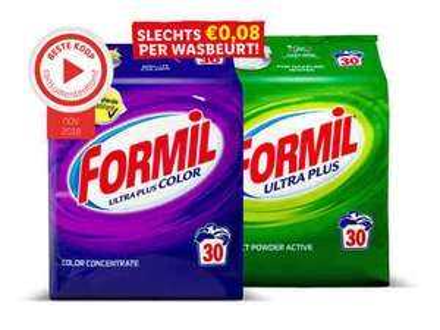 2 pakken Formil waspoeder €5,-  0,08 per wasbeurt (Lidl)
