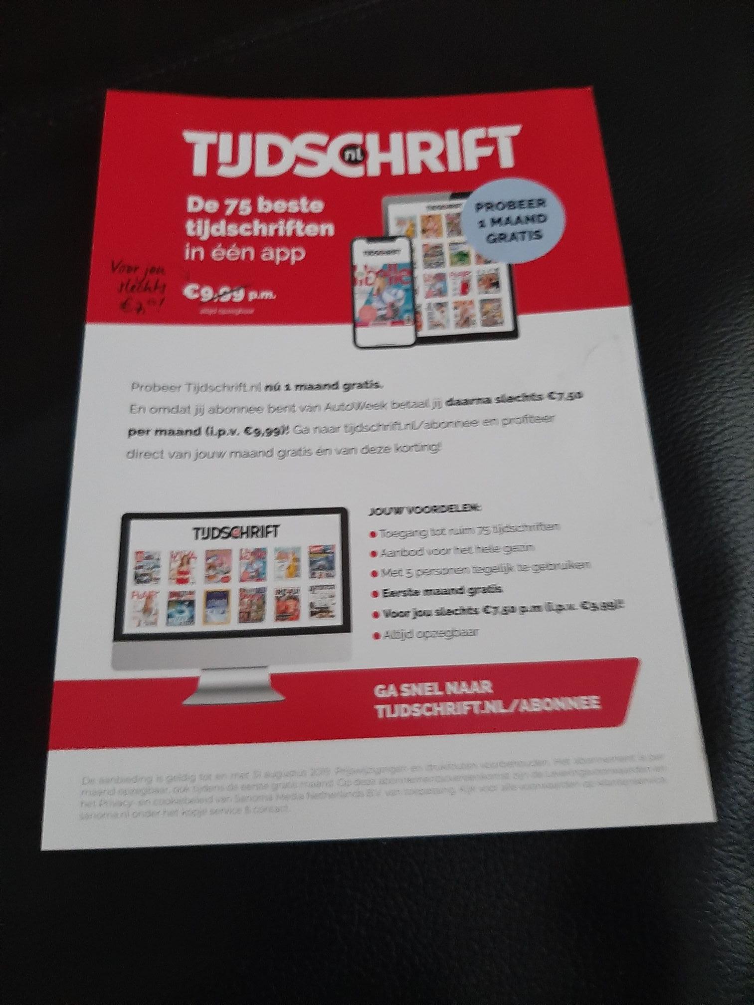 Probeer nu gratis 1 maand Tijdschrift.nl