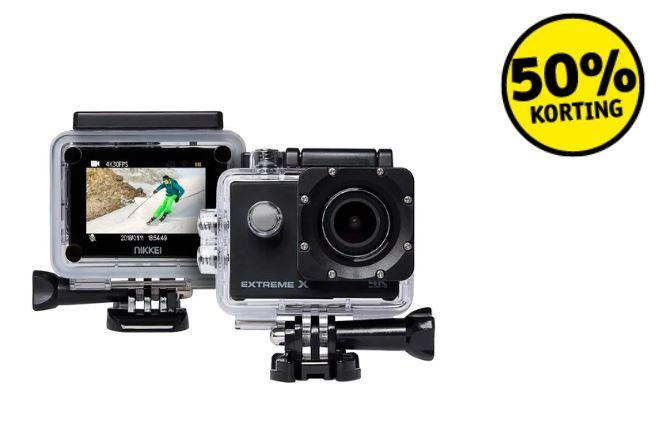 Nikkei Extreme X6 Zwart 4K actioncam 50% extra korting = €19,50 @ Kruidvat