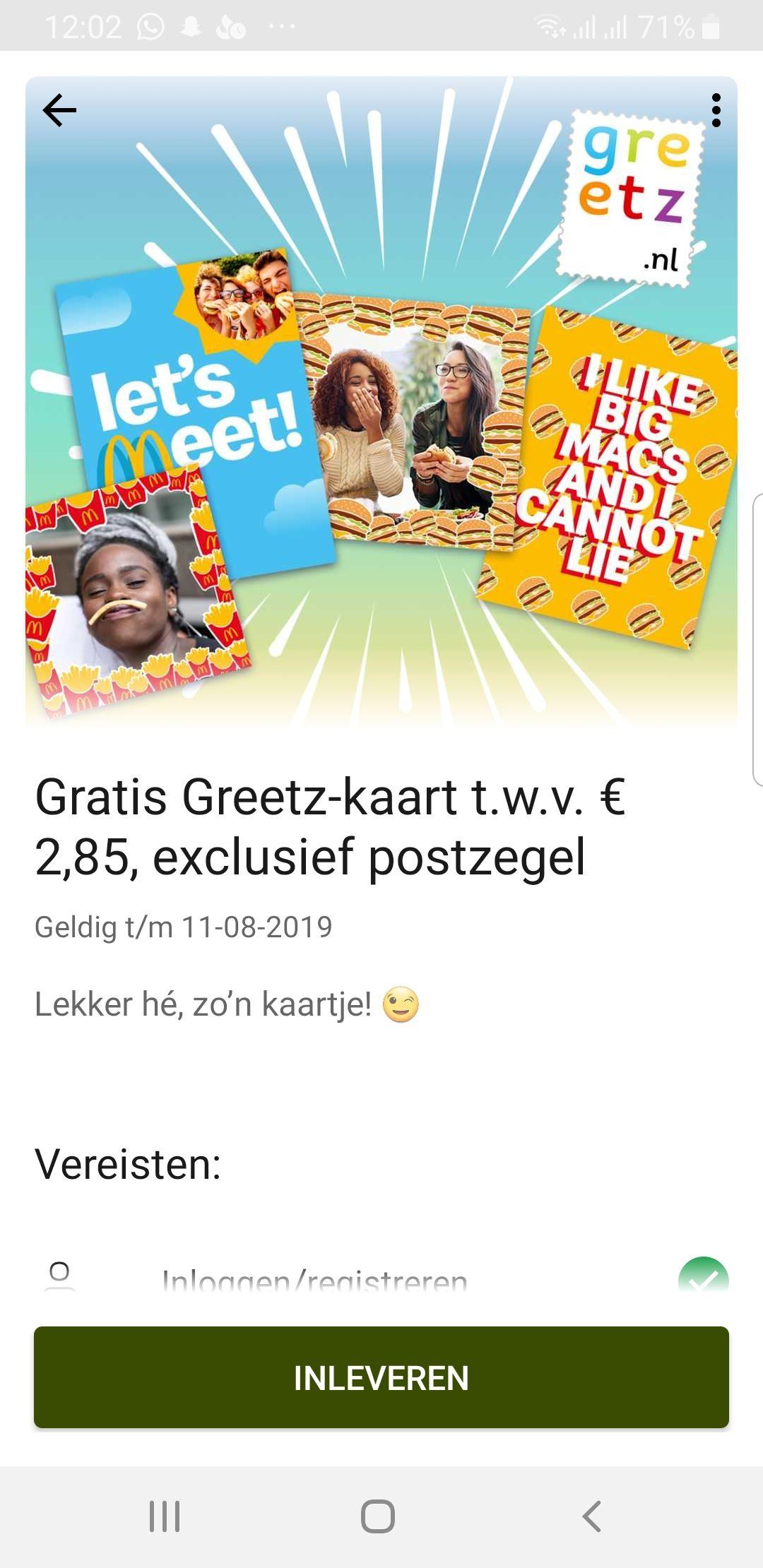 Gratis Mc donald's kaart via Greetz t.w.v. €2,85