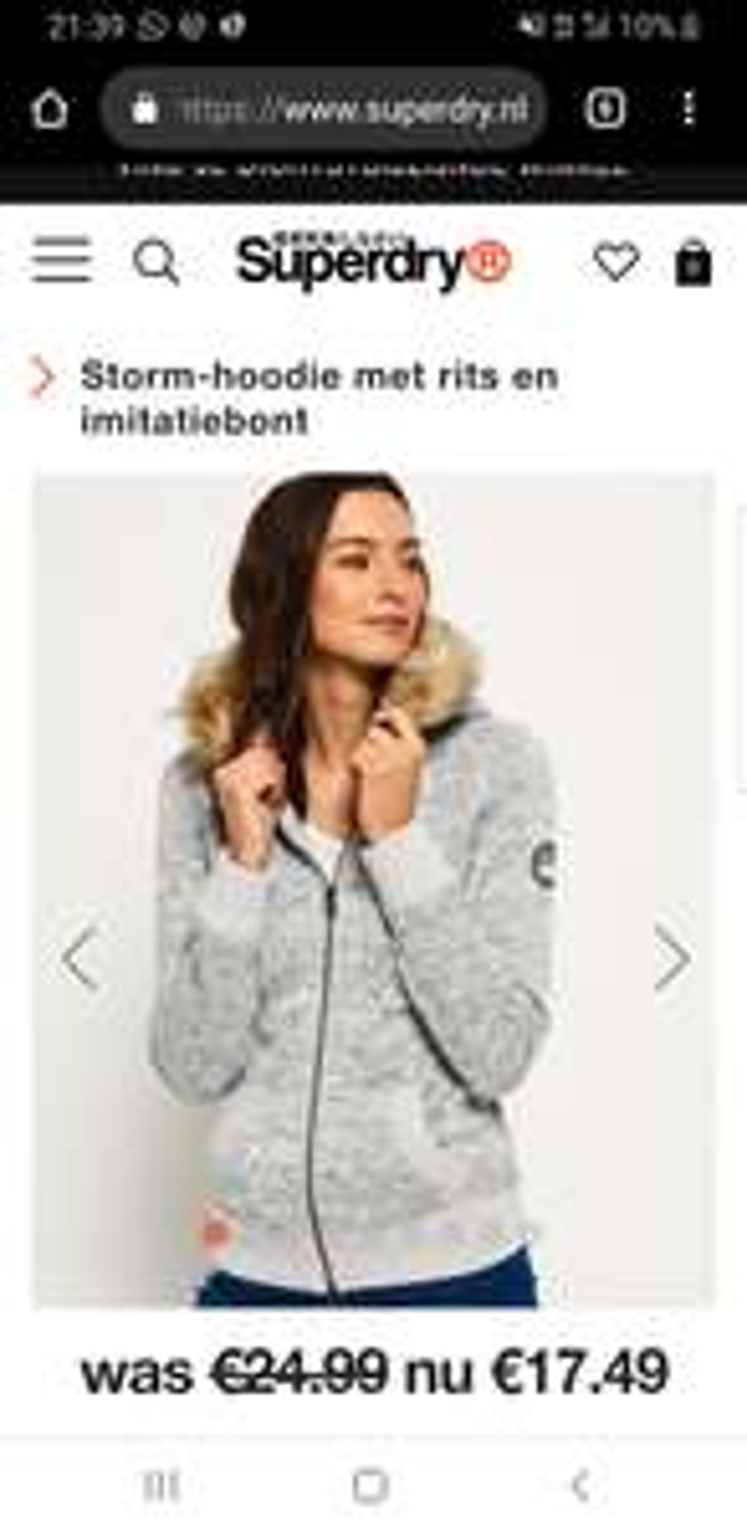Storm-hoodie met rits en imitatiebont