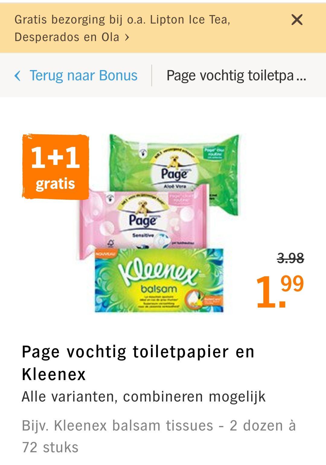 Kleenex tissues & Page vochtig Toiletpapier 1+1