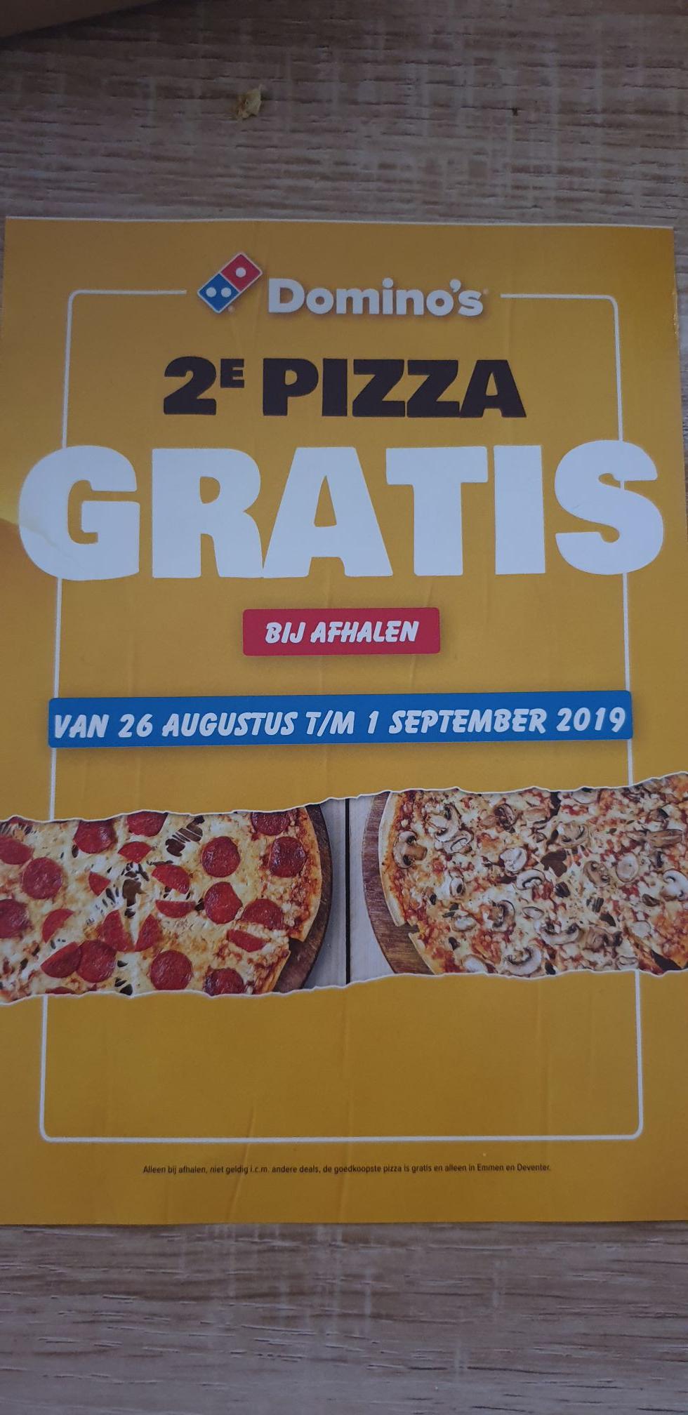 [Lokaal] 2e pizza gratis bij domino's