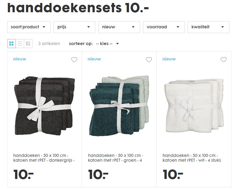 4 HEMA handdoeken 50x100 cm voor 10 euro bij HEMA.nl