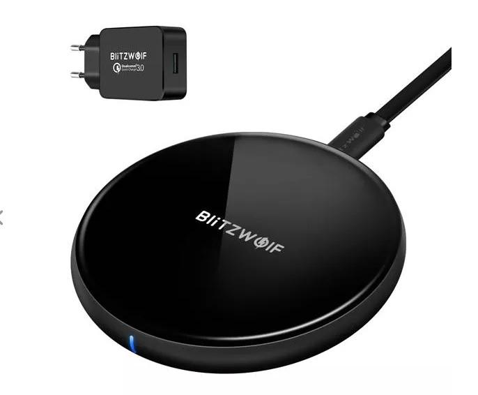 BlitzWolf BW-FWC4 5W 7,5 W 10 W snelle draadloze oplader oplaadpad + BW-S5 QC3.0 18 W USB-oplader