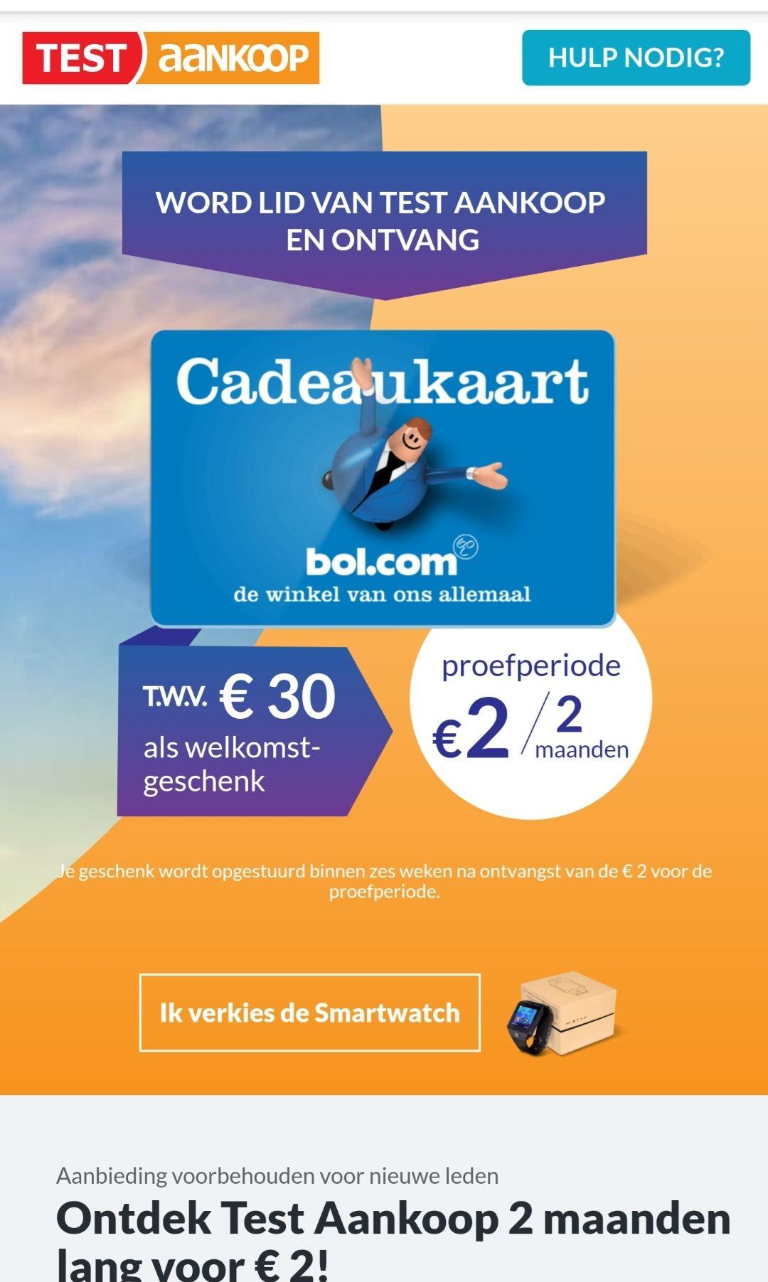 [België] Gratis Bol.com giftcard twv €30 of smartwatch voor nieuwe abonnees Test-Aankoop