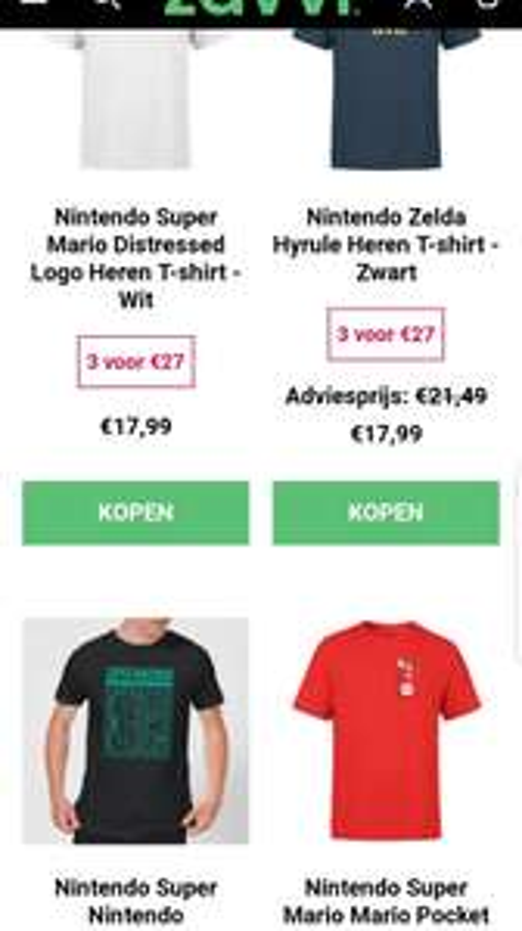 3 Nintendo shirts voor 27,-
