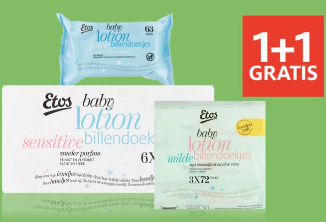 ETOS baby billendoekjes 1+1 gratis