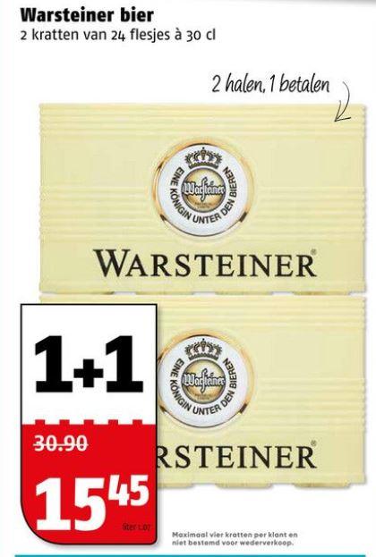 Warsteiner bier krat 1 + 1 gratis @Poiesz