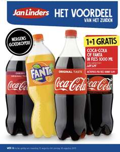 Fanta of Coca-Cola 1 literfles 1+1 gratis bij Jan Linders