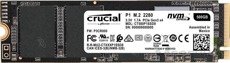 Crucial P1  500GB  (3D NAND, NVMe, PCIe, M.2)@Amazon DE