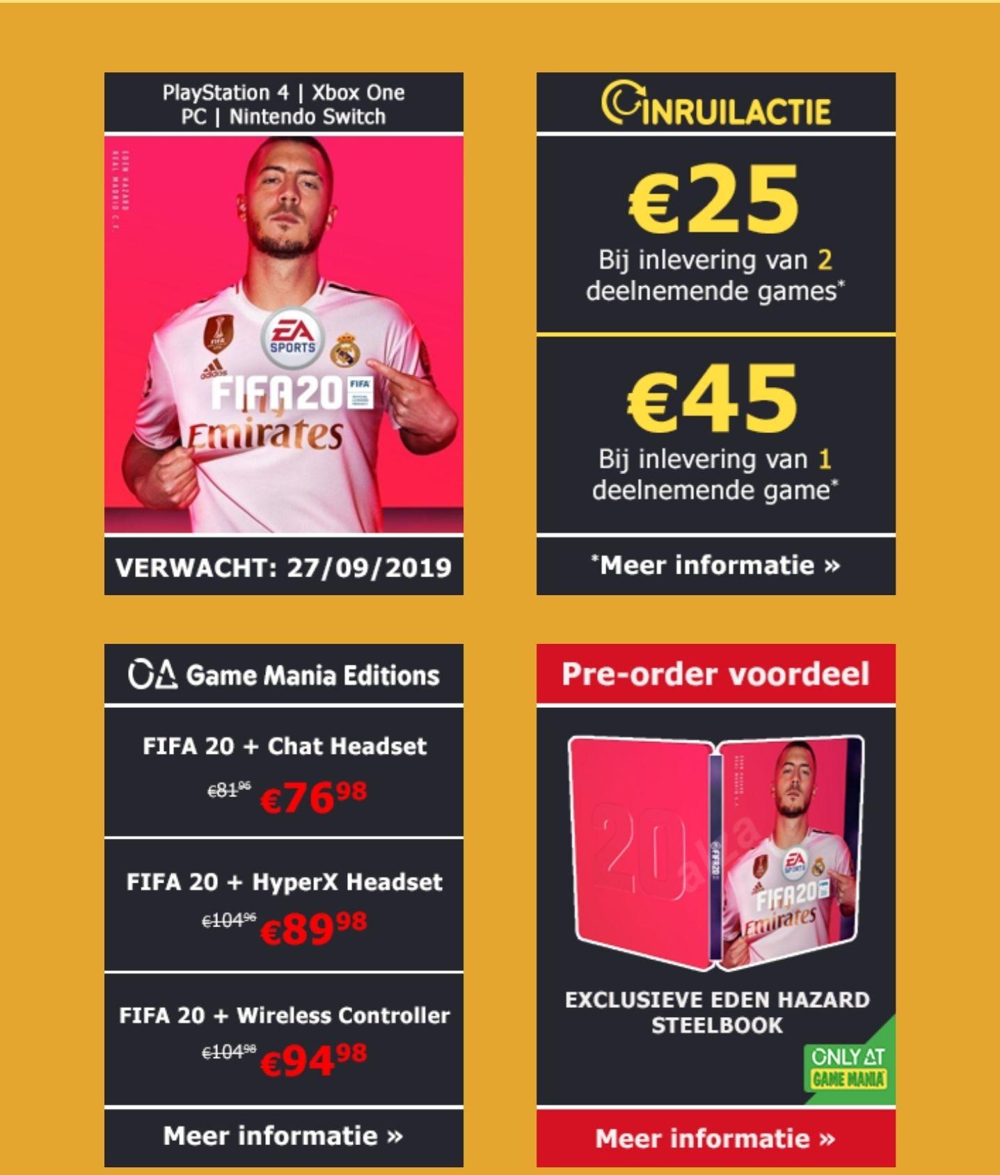 [Inruilactie Game Mania BE & NL] Fifa 20 aan €25