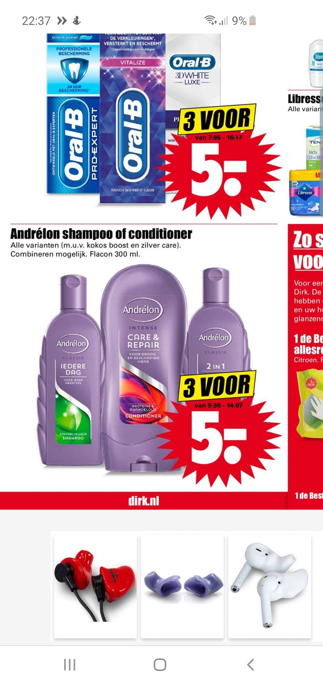 Dirk: 5 euro voor 3 Andrélon shampoo of conditioner