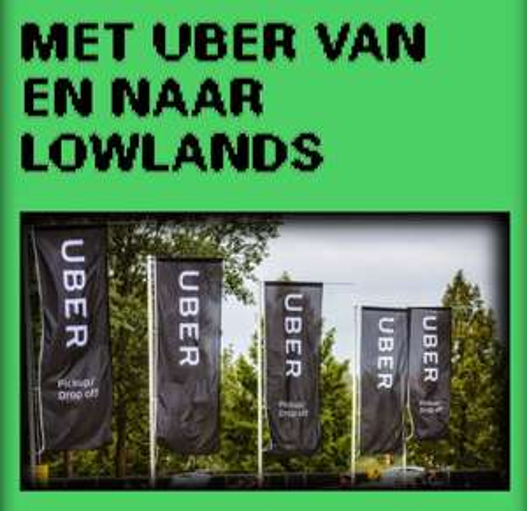 10,- korting op uber via Lowlands