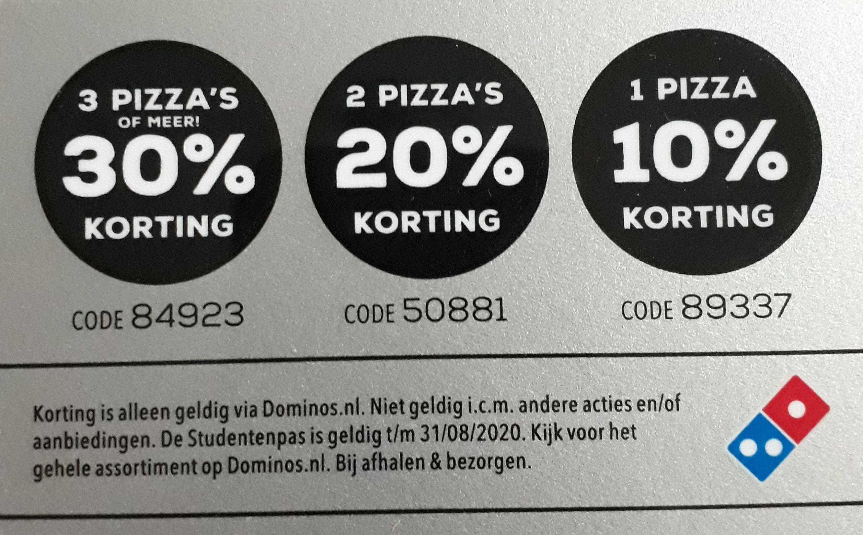 30% korting bij dominos bij 3 of meer pizza's