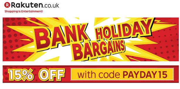 Kortingscode voor 15% korting op alles @ Rakuten.co.uk