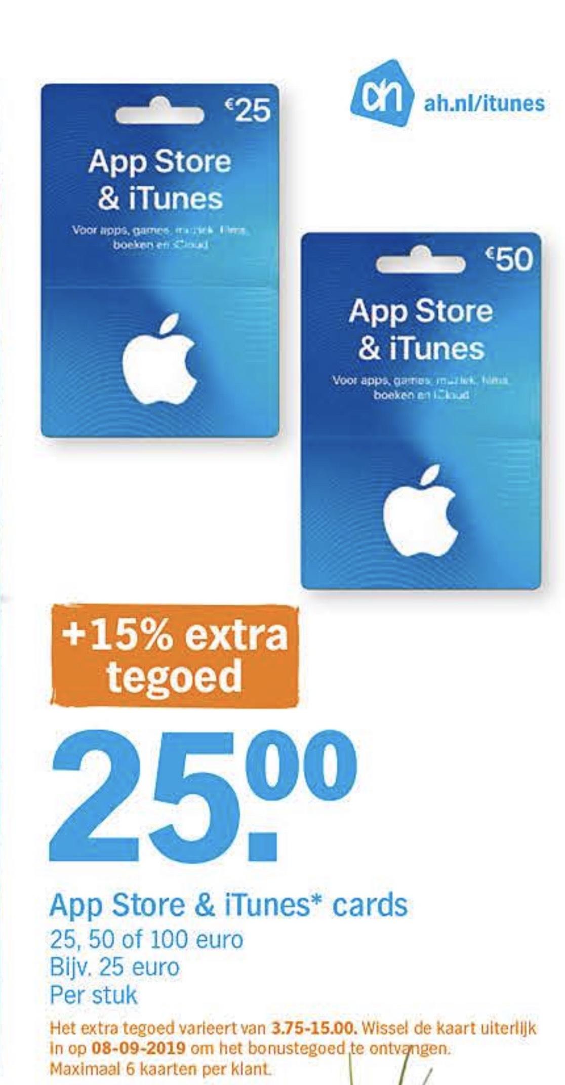 Albert Heijn 15% extra (bonus) tegoed App Store & iTunes kaarten