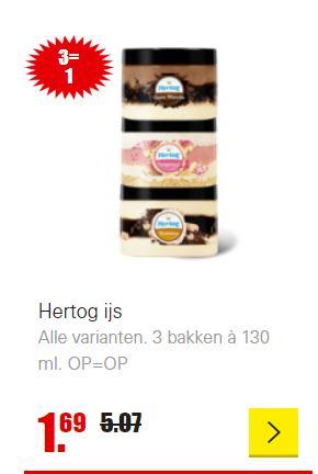 3 potjes Hertog ijs (130ml) voor €1,69 @Dirk