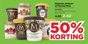 Magnum, Breyers of Hertog Pints 50% korting @Plus