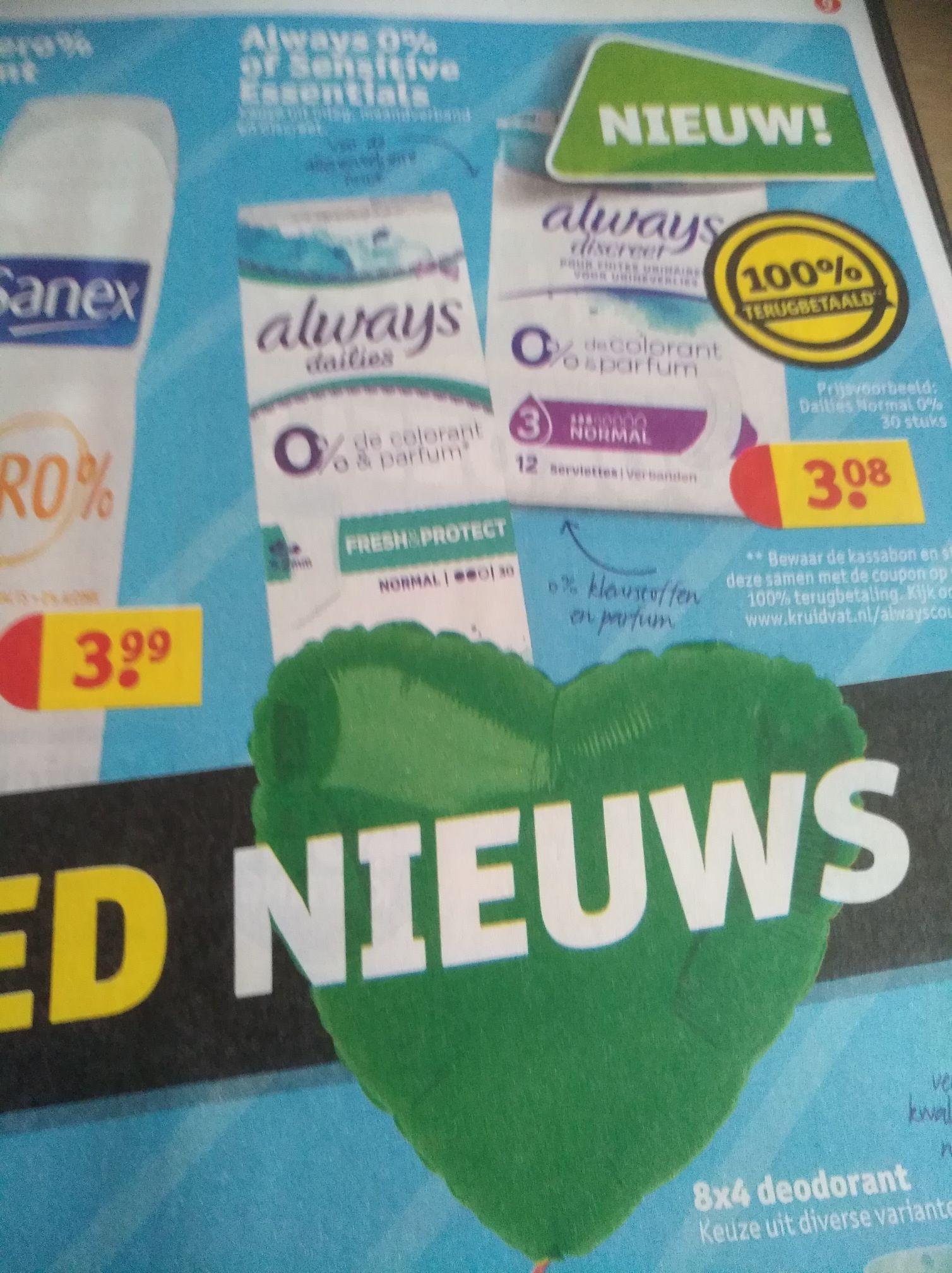 Gratis Always sensitive essentials of Always 0% bij Kruidvat (cashback)