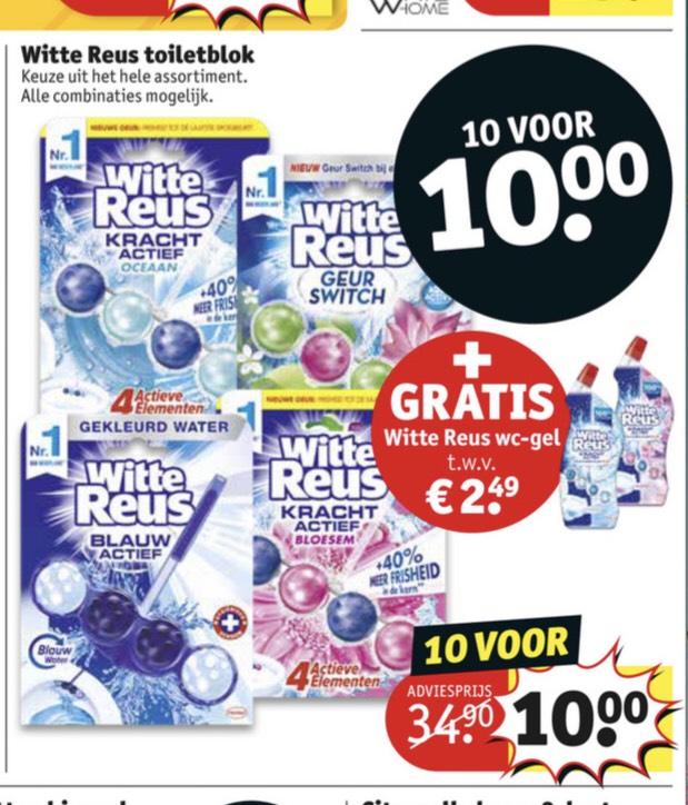 Witte reus toiletblok 10 stuks + 1 witte reus wc-gel €10,00