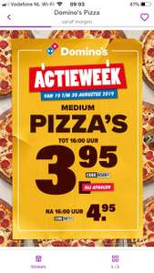 Dominos medium pizza's bij afhalen € 3,95 / € 4,95