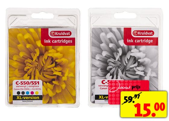 3 cartridges voor de printer voor €15 bij Kruidvat